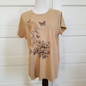 JMS Floral & Butterfly Short Sleeve Tee Size 1X